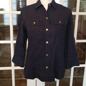 Navy Ralph Lauren linen anchor blouse size small